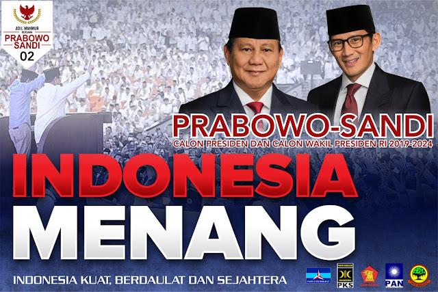 2 Bulan Jelang Pencoblosan, Survei Internal: Elektabilitas Prabowo-Sandi Tembus 60%