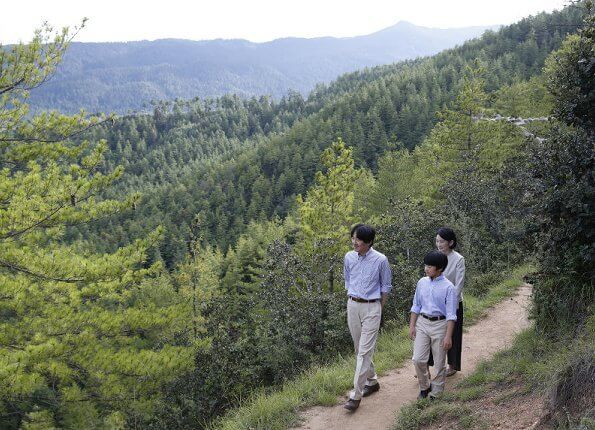 Crown Prince family visited a protection area for takins, animal of Bhutan