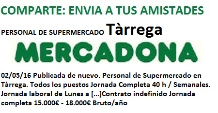 Lanzadera de Empleo Virtual Lleida, Oferta Mercadona Tàrrega