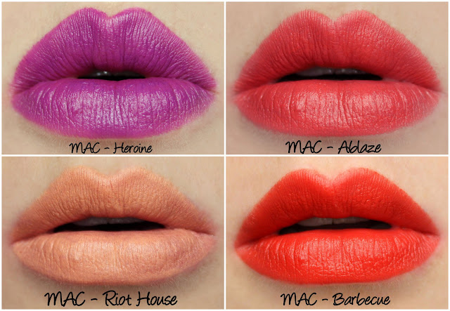 MAC Blue Nectar - Heroine, Ablaze, Riot House, Barbecue lipstick swatches