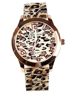 Geneva Leopard Print Wrist Watch - Brown