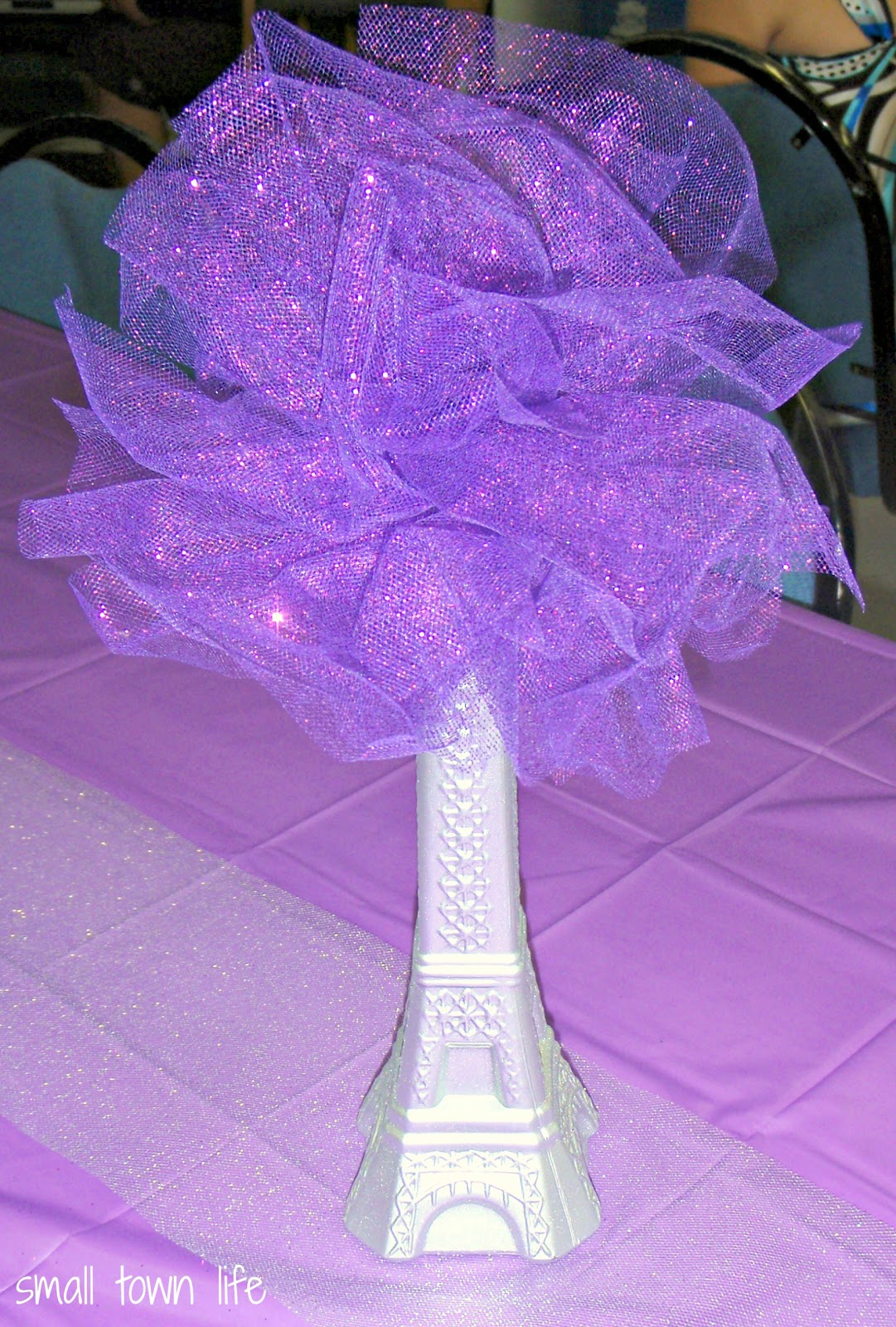 Small Town Life Diy Bridal Shower Centerpieces Eiffel Tower Vases Amp Glitter Tulle Poms