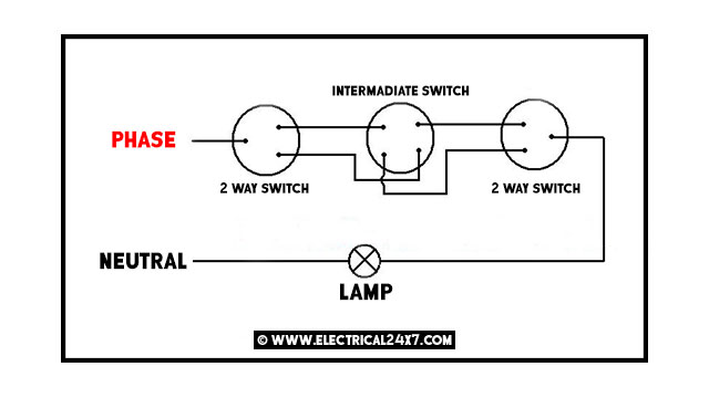 to control a lamp from two different places by two 2way switches