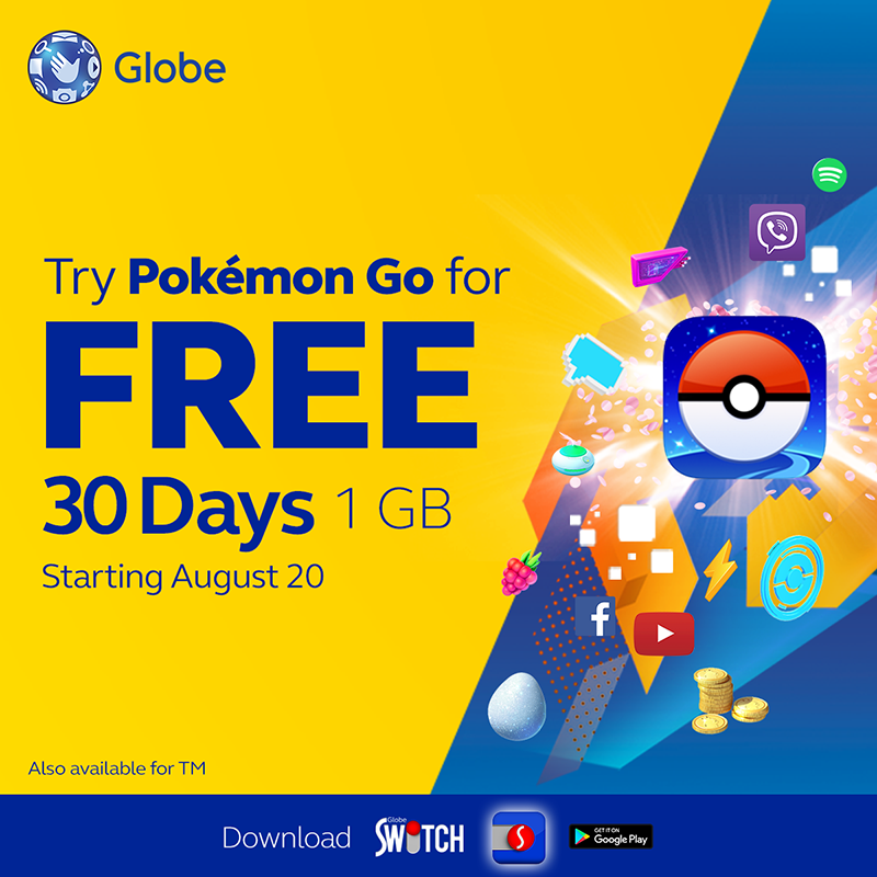 Free Pokemon GO for 30 days at Globe