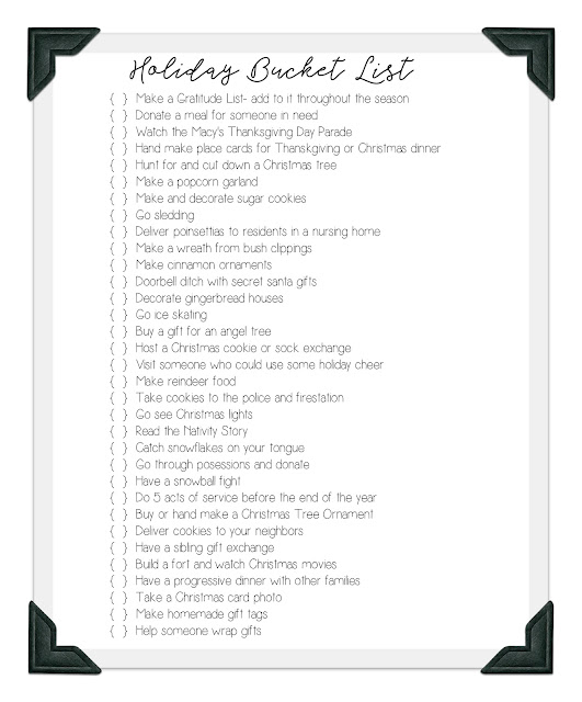 Holiday Bucket List Ideas Free Printable