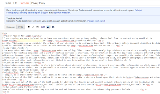 proses pemasangan privacy policy online