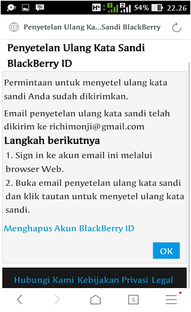 konfirmasi sandi blackberry