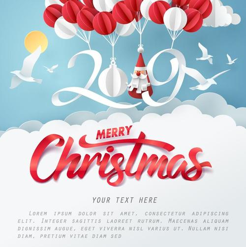 christmas card 2019 new year paper design free vector