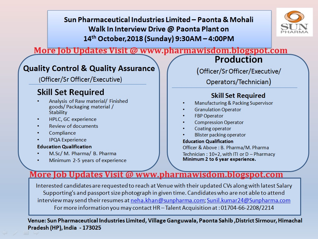 SUN PHARMA - Walk-In Interview Drive on 14th Oct' 2018 at