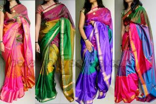 multi-color indian silk fabric sarees