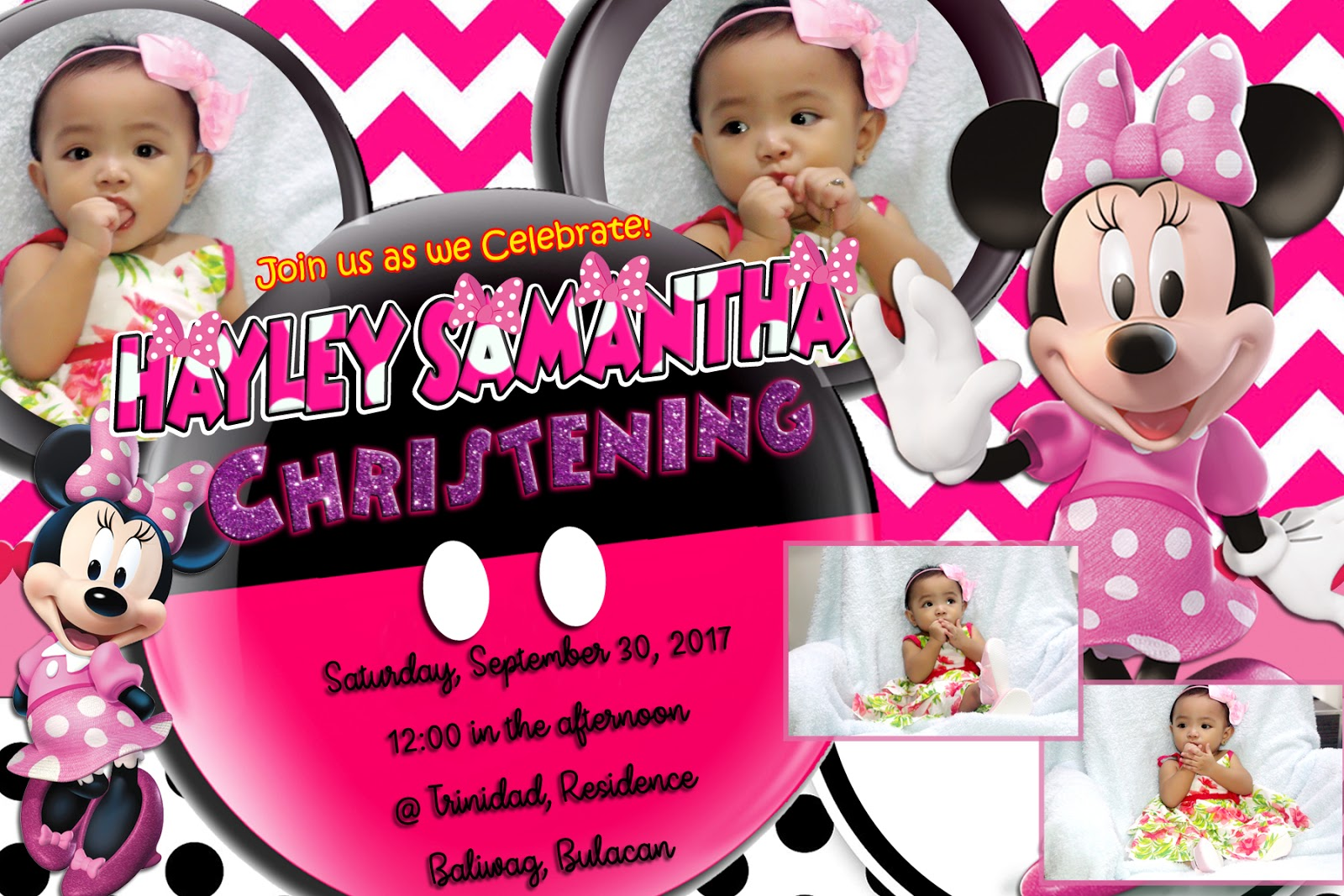 Sample Invitation Minnie Mouse Pink Design Template