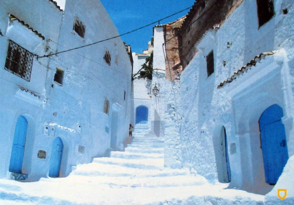 Blue Postcard from Chaouen. Morocco