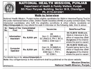 NHM Punjab Information Assistant, Computer Operator Govt Jobs Guru Recruitment Notification Typing Test 2018