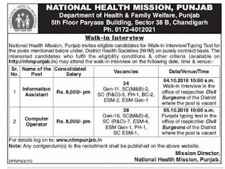 NHM Punjab Information Assistant, Computer Operator Govt Jobs Guru Recruitment Notification Typing Test 2018