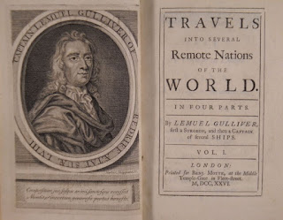 "A title page and frontispiece for ""Travels into Several Remote Nations of the World."""