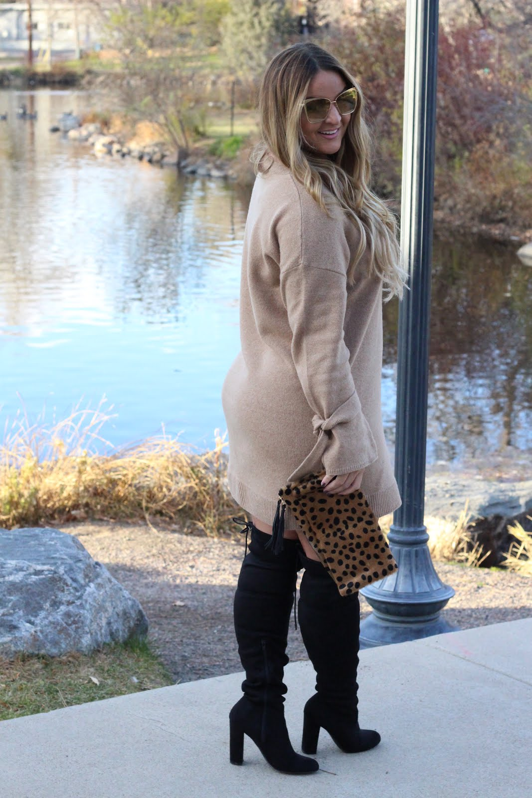 Sweater Weather & Thigh high boots by Colorado fashion blogger Delayna Denaye
