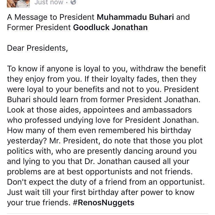 Reno Omokri Writes Open Letter To Pres. Buhari & Former Pres. GEJ