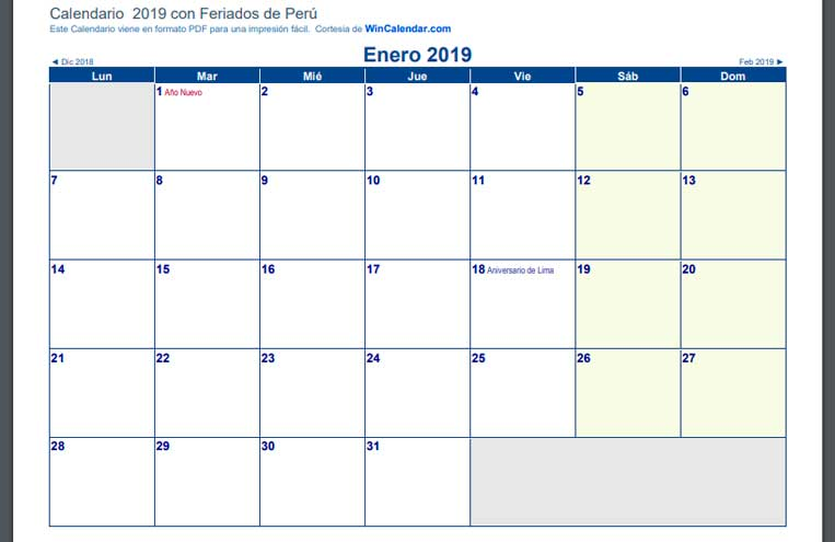 Calendarios 2019 de perú en PDF horizontal por meses