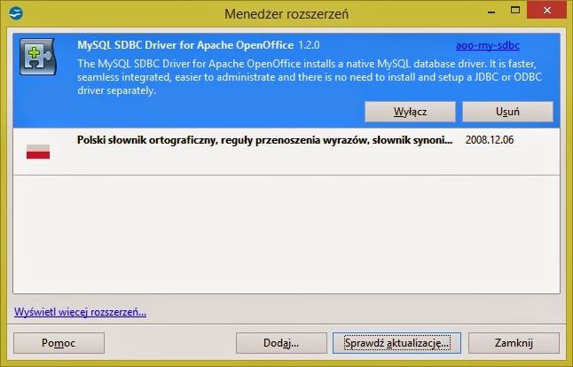 Instalacja rozszerzenia MySQL - Open Office