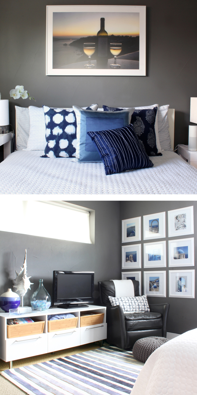 Blue and White Guest Room Gray Walls Greek Island Santorini