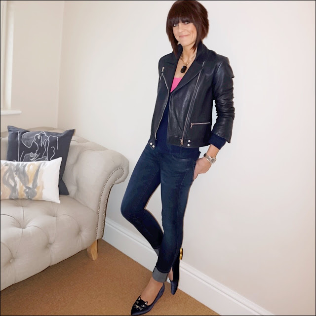 My Midlife Fashion, Massimo Dutti Biker Jacket, cosy cashmere deep v cashmere jumper, zara skinny jeans, tesco f and f camisole, charlotte olympia kitty slippers
