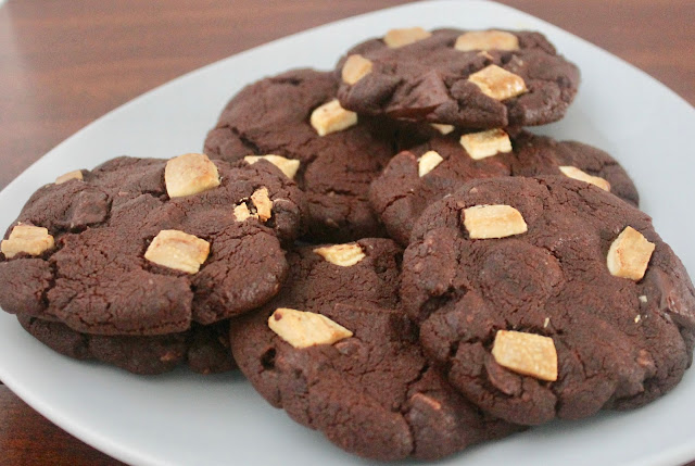 Chewy triple chocolate chunk cookies