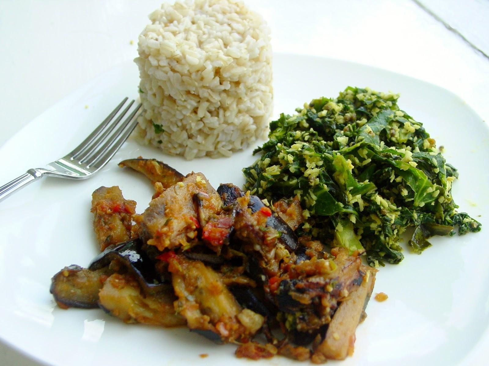 Singaporean Stir Fried Eggplant, Kale Mallum , Brown Rice
