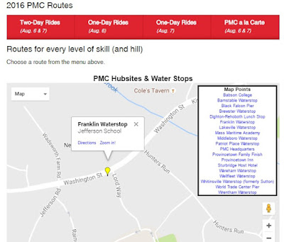 Screen grab of PMC water stop info for Franklin