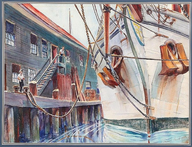 Maritime Painting Square Rigger at Dock by artist Francis J. Quirk