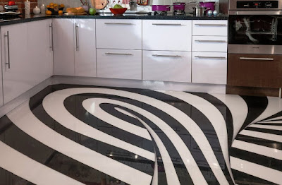 epoxy painted 3D flooring art for modern kitchen designs 2018
