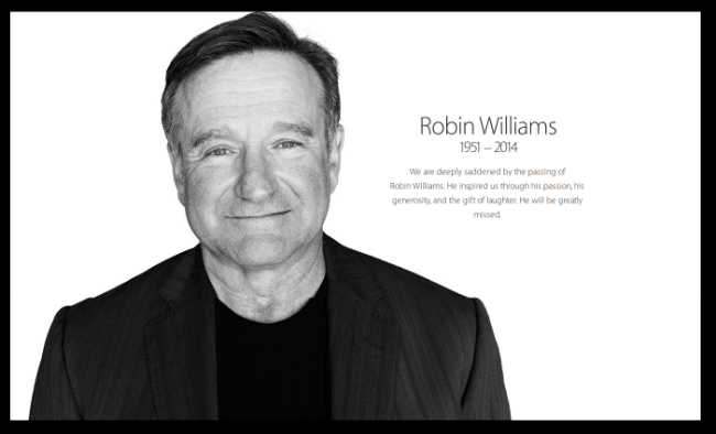 A black and white photograph of Robin Williams with his year of birth, 1951, and his year of death, 2014, which was posted on the apple.com website.