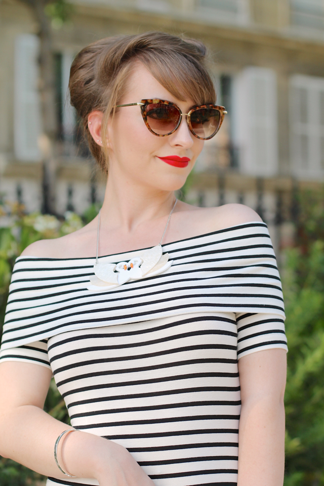 Asos midi bardot stripe wiggle dress with Erstwilder Tunnel of Love necklace in Paris