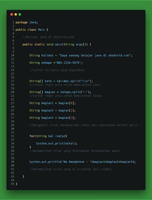 Method split() di String java