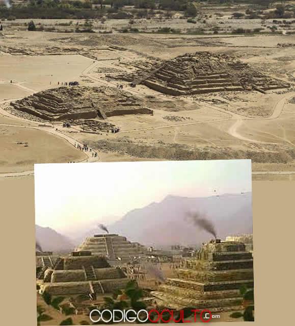 Las imponentes pirámides de Caral, y una representación de como habrían lucido en el pasado. Estas construcciones son contemporáneas con las Pirámides de Egipto.