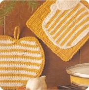 Cogedores con Manzanas a Crochet