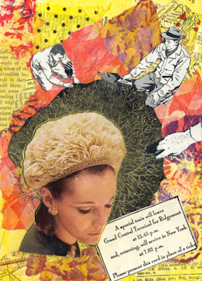 Hand cut paper collage featuring images from 1950s