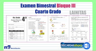 Examen Bimestral Bloque III Cuarto Grado