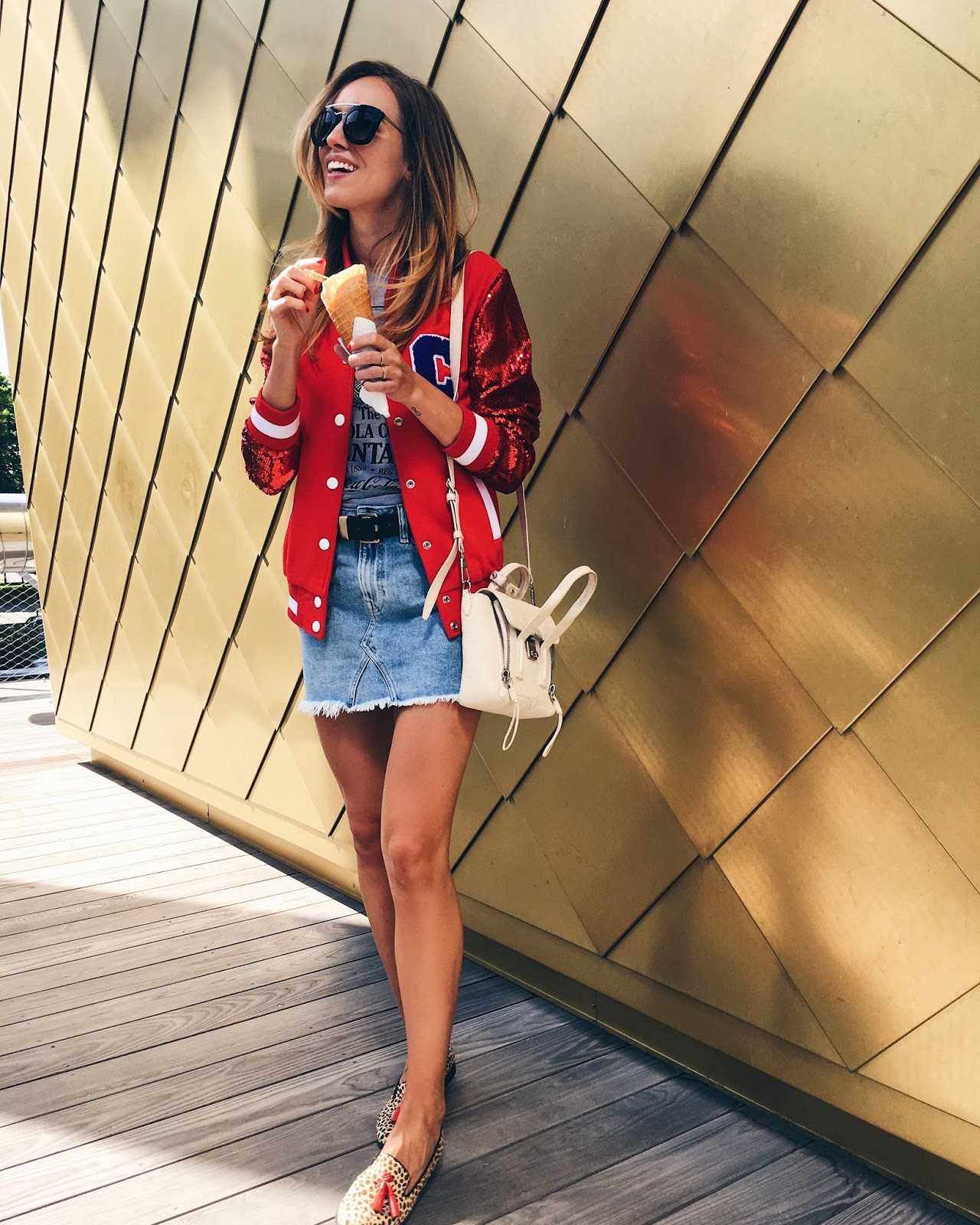 red bomber varsity jacket outfit summer