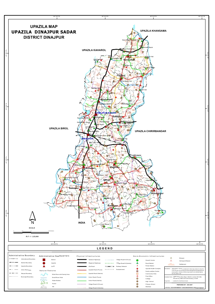 Dinajpur Sadar Upazila Map Dinajpur District Bangladesh