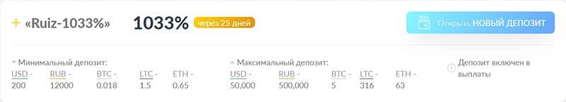 Инвестиционные планы RuizCoin 4