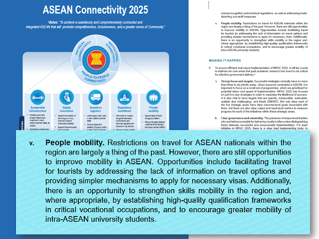 The Association of Southeast Asian Nations (ASEAN), in its goal to improve tourism and economic growth in the region, is now improving ways to mobilize people as a part of the vision called ASEAN Connectivity 2025 which aims to bring common benefit to its member countries.  It means hassle-free travel, education and job opportunities for all ASEAN members translated to robust economic boom and active tourism.  Advertisement         Sponsored Links     One way to do this is by improving the mobility of people within ASEAN, thus, unlocking greater opportunities for the entire region.      Around seventy ASEAN officials representing the education, labour, and economic sectors participated in the Third National Qualifications Framework (NQF) Phase IV Workshop yesterday. The workshop focused on developing some components of the ASEAN Referencing Report and an informal peer review exercise which served as a venue for learning exchange from the experience of the endorsement process of the European Qualifications Framework Referencing Report.      In her opening remarks, the Chair of the ASEAN Qualifications Reference Framework Committee, Ms. Rosimah Sumaimah Binti Haji Matassim from Brunei Darussalam National Accreditation Council stressed the importance of the workshop as a crucial step to progress into actual activities of the referencing process for ASEAN Member States (AMS) and reviewing process for the AQRF Committee. The workshop took a step-by-step approach to enhance knowledge, support capacity building and accumulate experience of AMS towards the development of a full-pledge AQRF Referencing Report.    On behalf of the Secretary-General of the Ministry of Higher Education, Prof. Dr. Hazman Shah Abdullah, Deputy Chief Executive Officer for Quality Assurance, Malaysian Qualifications Agency (MQA) welcomed all participants of the Workshop. He highlighted that Malaysia's strong commitment to the AQRF is part of their support to the ASEAN Community, and that through th