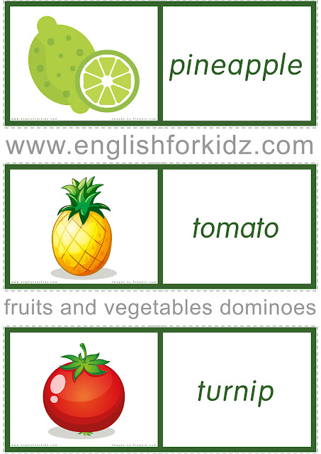 Printable fruits and vegetables domino cards to learn English