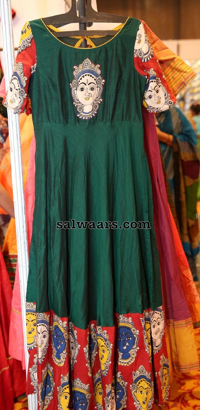 Bottle Green Kalamkari Long Frock
