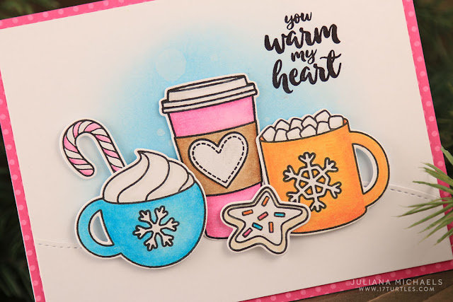 You Warm My Heart Coffee Card by Juliana Michaels featuring Sunny Studio Mug Hugs Stamps, Prismacolor Colored Pencils and Distress Ink