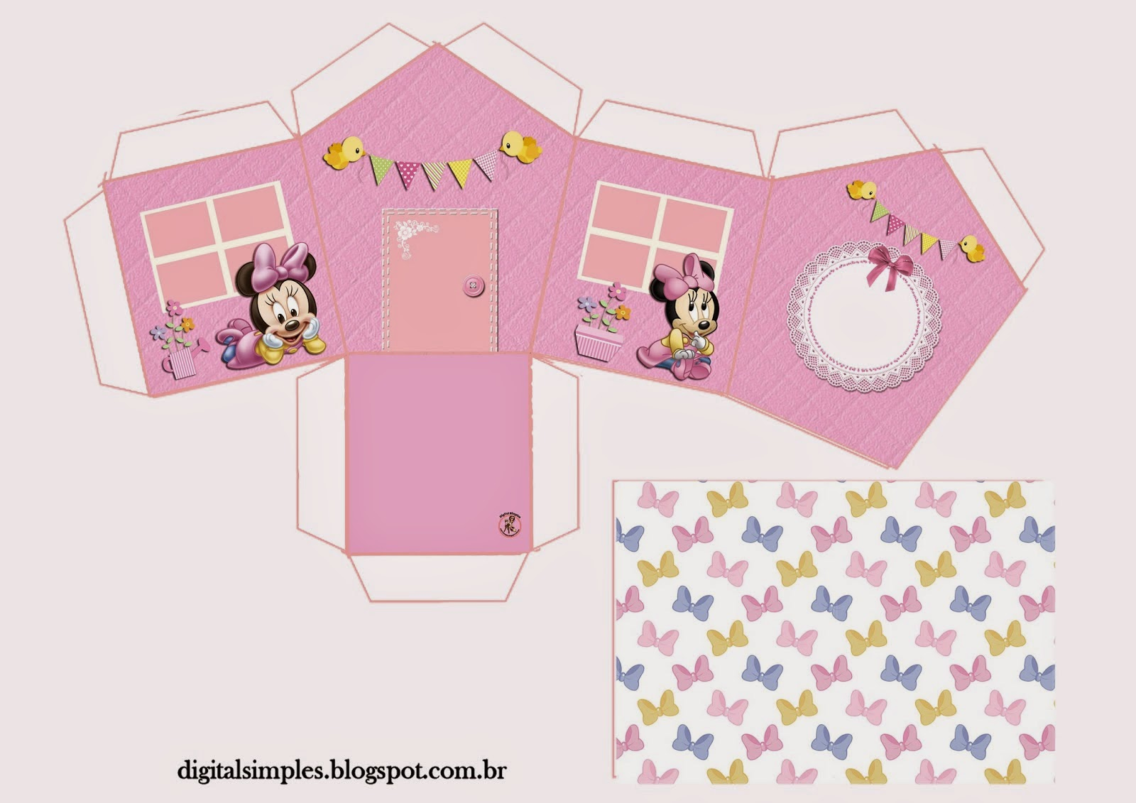 Lovely Minnie Baby House Shapped Free Printable Box Oh My Baby