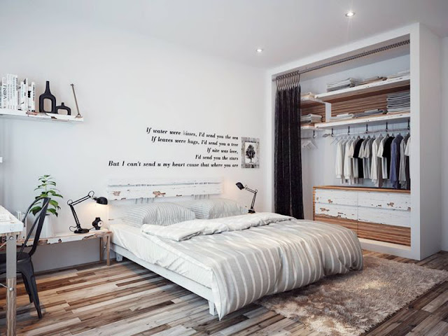 Masculine White Modern bedroom with interesting design