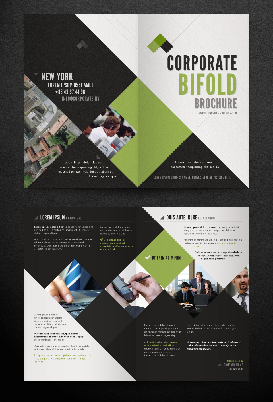 Corporate bi fold brochure template printriver for Two fold brochure design