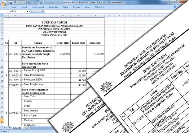 Format Buku Kas Umum Dana BOP PAUD KB (Kelompok Belajar)