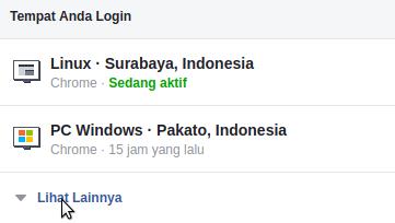 Tempat terakhir login di facebook