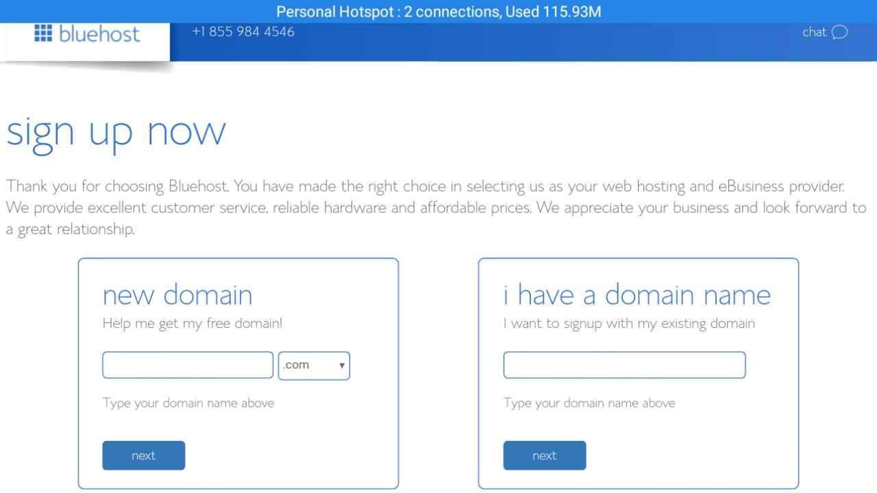 choose your domain or submit existing domain